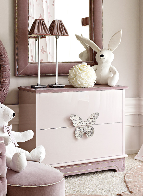 <strong>1570</strong> 2-drawer dresser with large stainless steel Butterfly split handle MR19 L.100 x P. 50 x H. 86 cm
