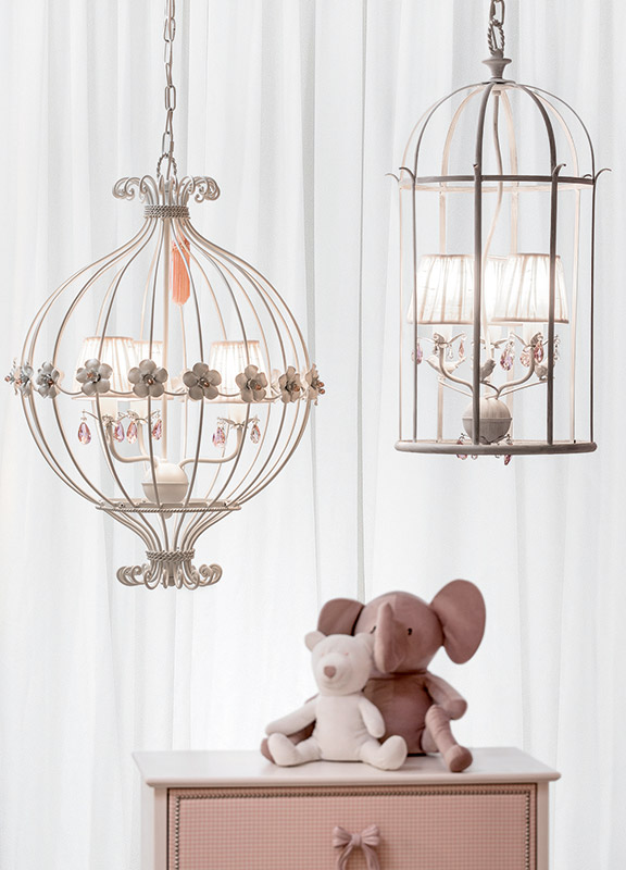 <strong>ML14</strong> round cage chandelier, 3 lights ø 50 x H. 70 cm <br>