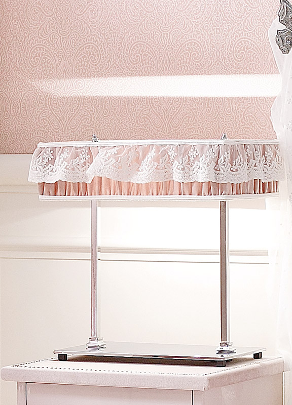 <strong>PAR28</strong> rectangular lampshade in ruffled fabric with tulle