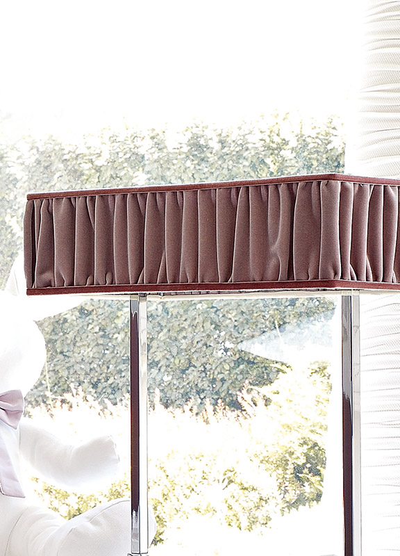 <strong>PAR17</strong> rectangular lampshade ruffled fabric