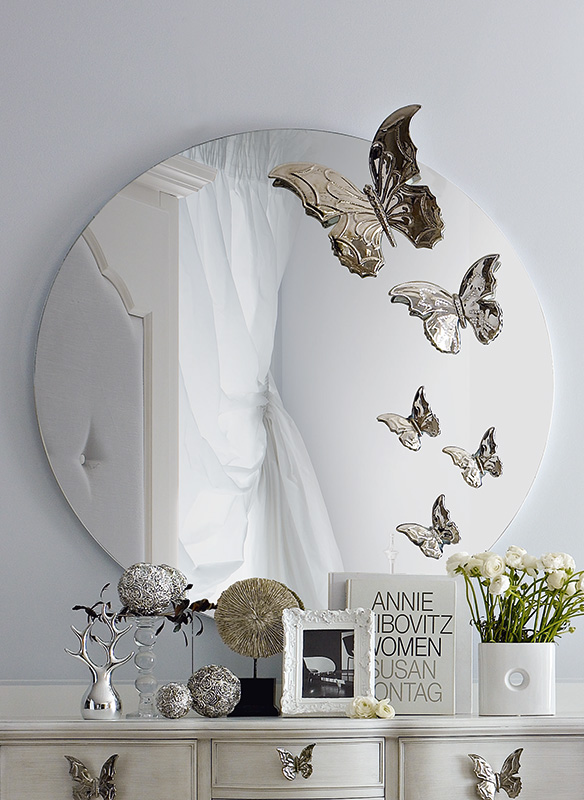 <strong>4001</strong> round mirror with butterflies L. 120 x P. 13 x H. 120 cm